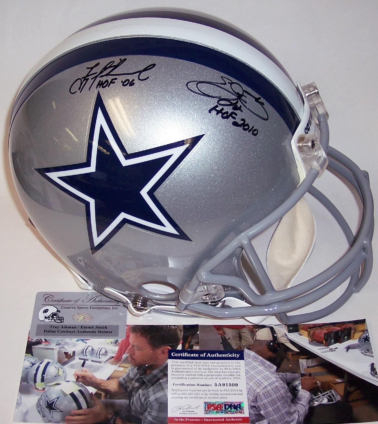 buy online 6c0c0 17319 Emmitt Smith & Troy Aikman Autographed Dallas Cowboys Authentic Helmet -  PSA/DNA