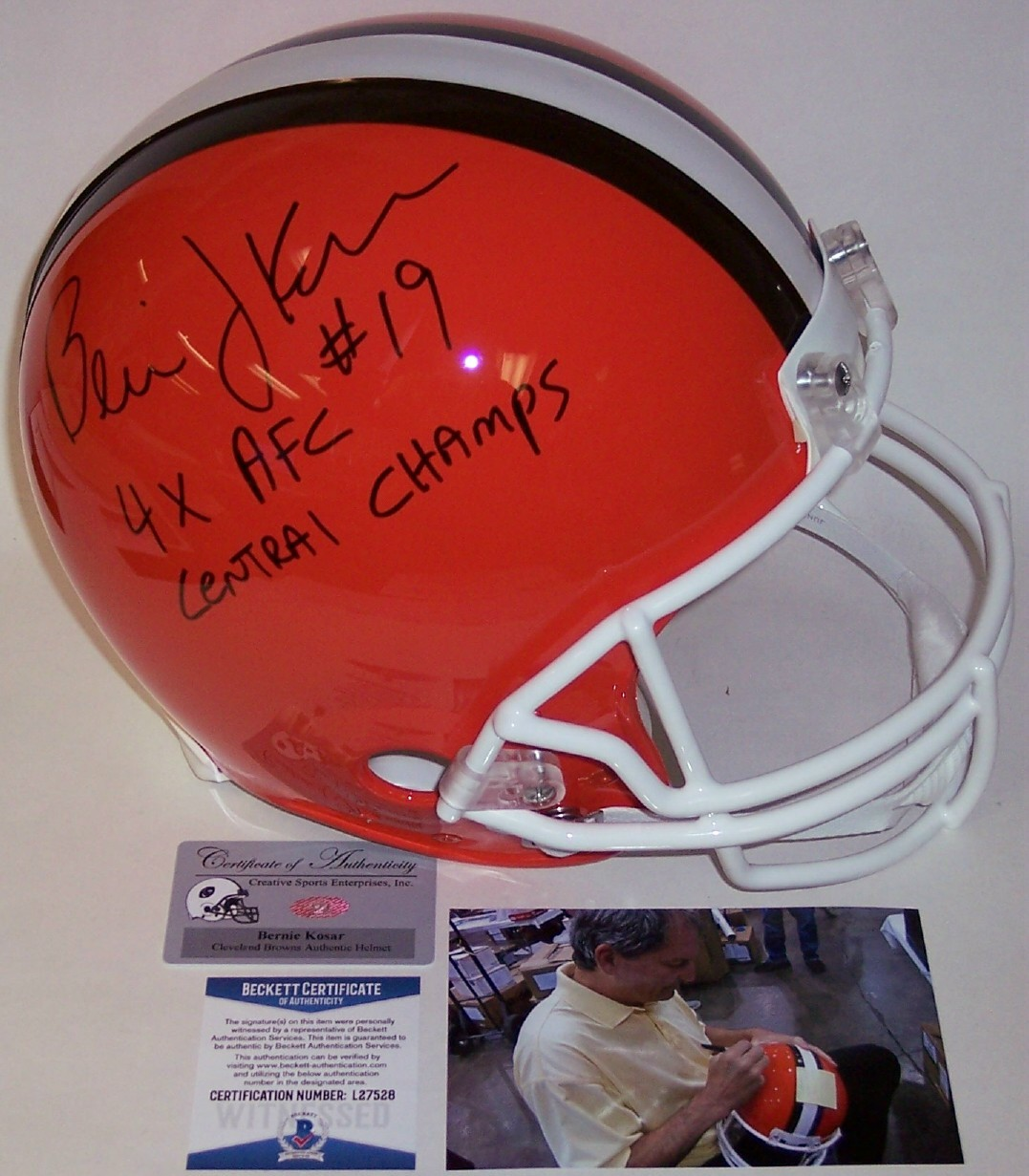 54bfc58f Bernie Kosar Hand Autographed Signed Cleveland Browns Throwback Authentic  Helmet - BAS Beckett