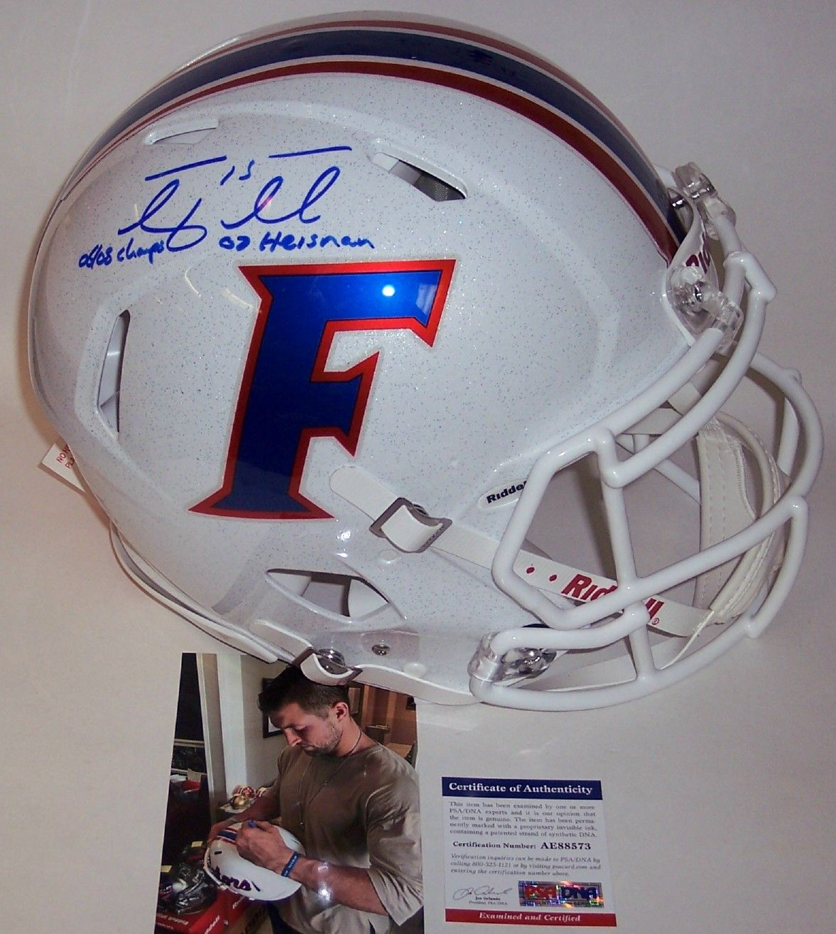 176b8faa126b6 Tim Tebow Autographed Hand Signed White Florida Gators Full Size Speed  Authentic Helmet – PSA DNA